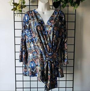 Blue Wrap Style Long Sleeve Blouse XL